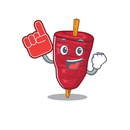 Doner kebab presented in cartoon character design with Foam finger