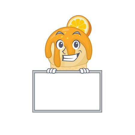Smiling orange ice cream cartoon design style has a board