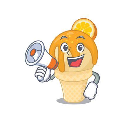 Cartoon character of orange ice cream having a megaphone
