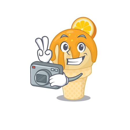 orange ice cream mascot design as a professional photographer working with camera