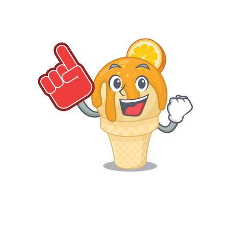 Orange ice cream presented in cartoon character design with Foam finger. Vector illustration 矢量图像