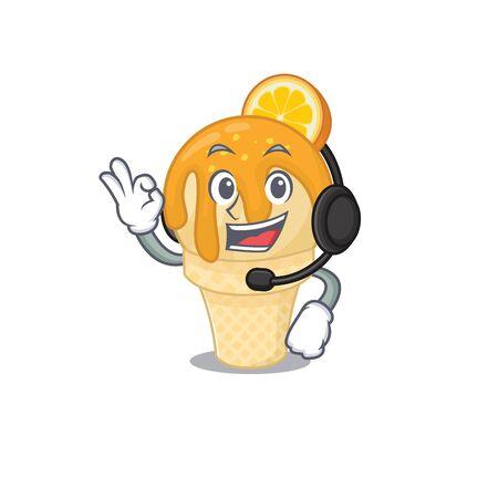 A gorgeous orange ice cream mascot character concept wearing headphone