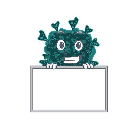 Smiling herdecovirus cartoon design style has a board 向量圖像