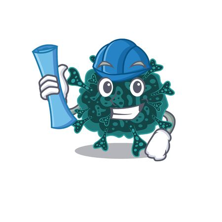 Cartoon character of herdecovirus brainy Architect with blue prints and blue helmet