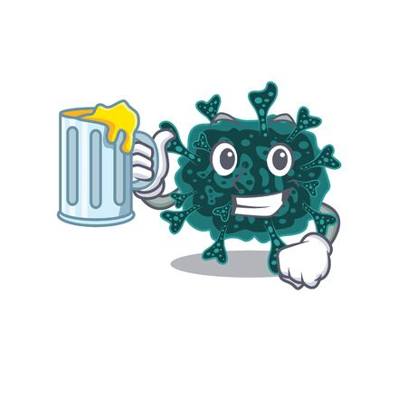 A cartoon concept of herdecovirus rise up a glass of beer