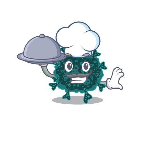 Herdecovirus chef cartoon character serving food on tray