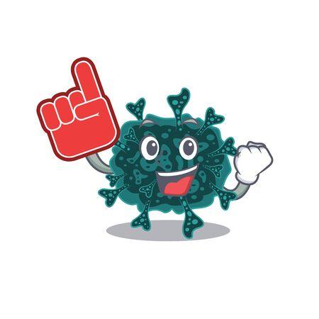 Herdecovirus presented in cartoon character design with Foam finger