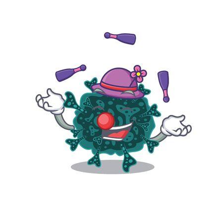 An attractive herdecovirus cartoon design style playing juggling