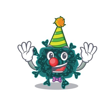 cartoon character design concept of cute clown herdecovirus 向量圖像