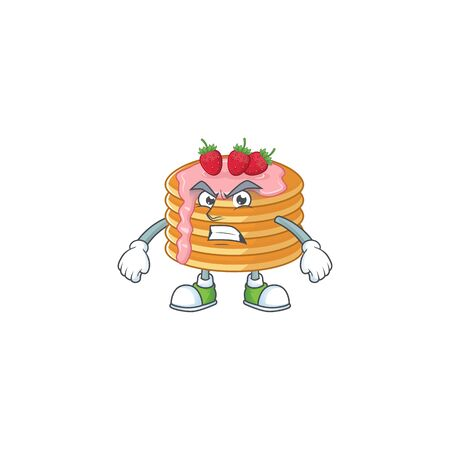 Mascot design style of strawberry cream pancake with angry face. Vector illustration 向量圖像