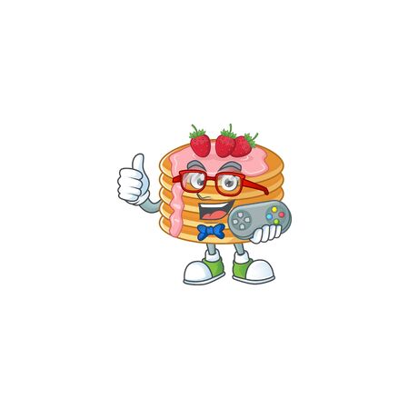 Strawberry cream pancake talented gamer mascot design play game with controller. Vector illustration