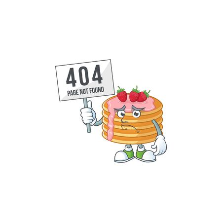 Sad face of strawberry cream pancake cartoon character raised up 404 boards. Vector illustration
