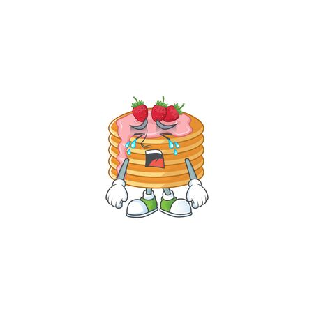 A weeping strawberry cream pancake cartoon character concept. Vector illustration