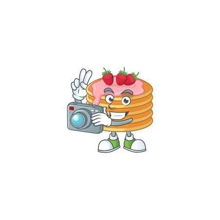 Strawberry cream pancake photographer mascot design concept using an expensive camera. Vector illustration