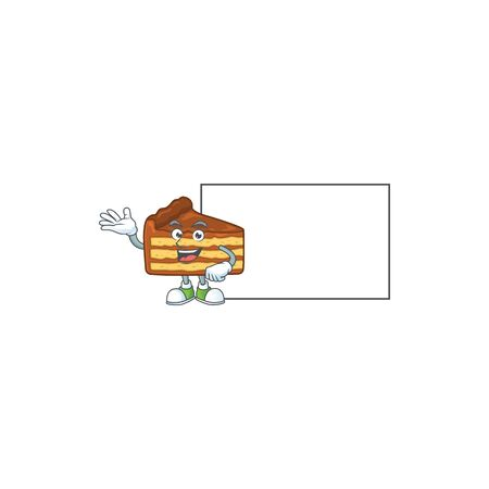 An image of chocolate slice cake with board mascot design style. Vector illustration 向量圖像