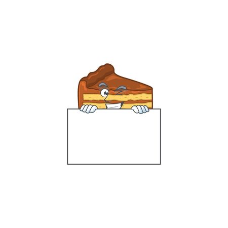 Sneaky chocolate slice cake cartoon character style hiding behind a board. Vector illustration