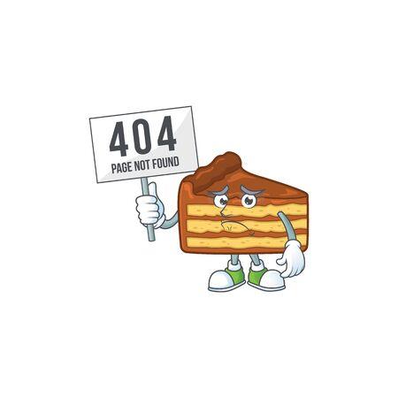 Sad face of chocolate slice cake cartoon character raised up 404 boards. Vector illustration
