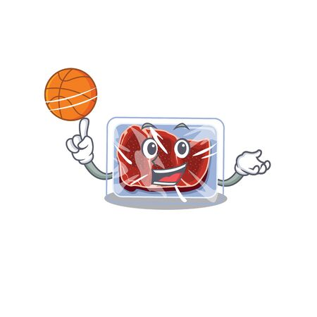 Gorgeous frozen beef mascot design style with basketball. Vector illustration