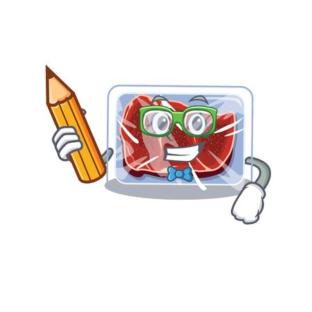 A brainy student frozen beef cartoon character with pencil and glasses. Vector illustration