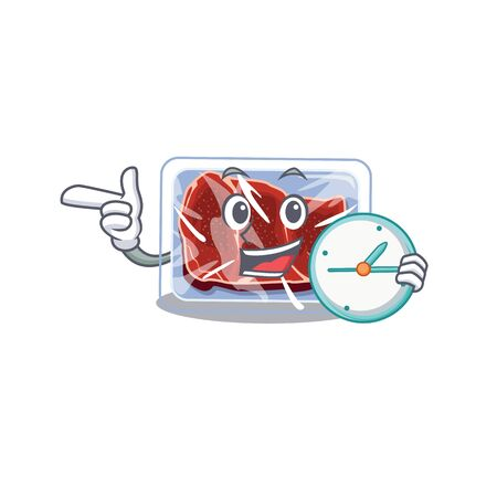 Frozen beef mascot design concept smiling with clock Illustration