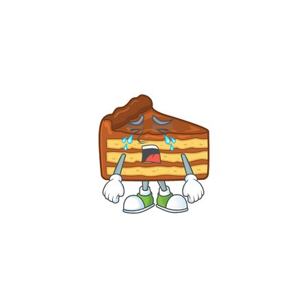 A weeping chocolate slice cake cartoon character concept. Vector illustration Illustration