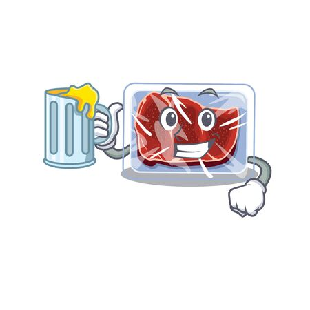 A cartoon concept of frozen beef rise up a glass of beer