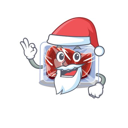Frozen beef Santa cartoon character with cute ok finger