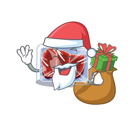 Cartoon design of frozen beef Santa with Christmas gift Vectores