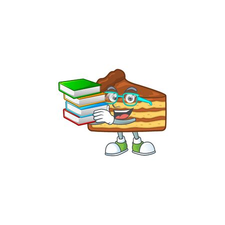 A mascot design of chocolate slice cake student character with book. Vector illustration