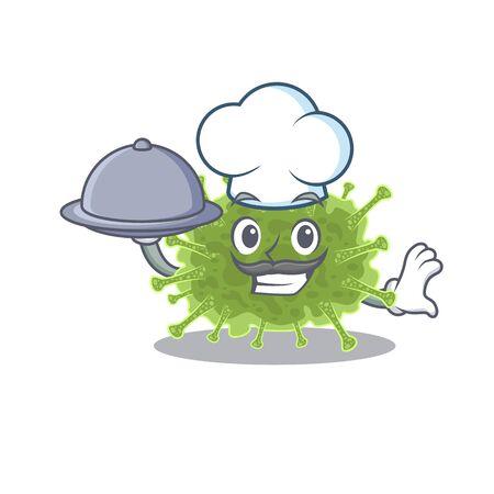 haploviricotina chef cartoon character serving food on tray