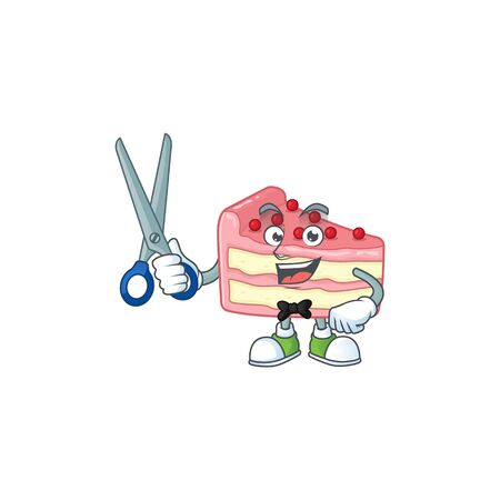 Cute Barber strawberry slice cake cartoon character style with scissor