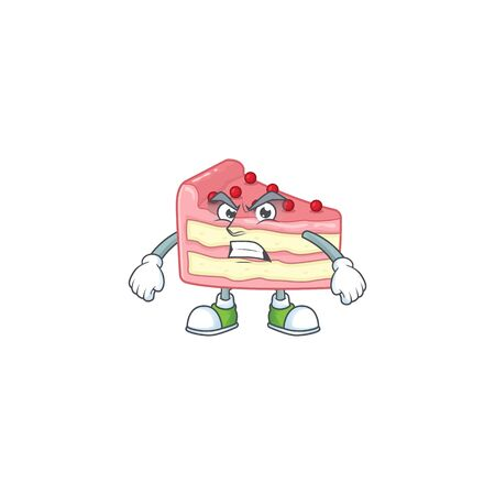 Mascot design style of strawberry slice cake with angry face