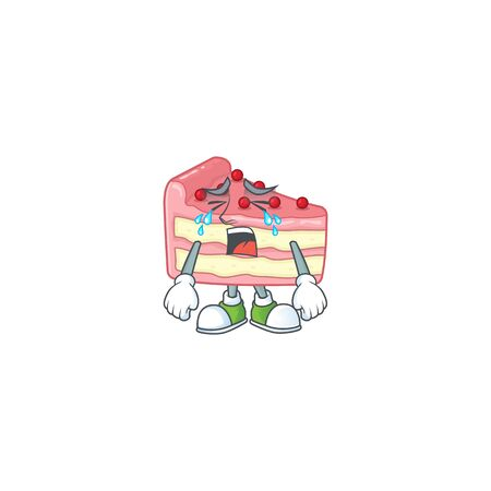 A weeping strawberry slice cake cartoon character concept