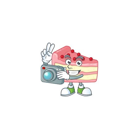 Strawberry slice cake photographer mascot design concept using an expensive camera