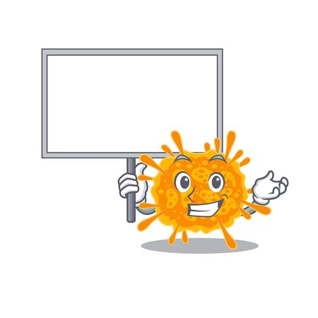 An icon of nobecovirus mascot design style bring a board. Vector illustration