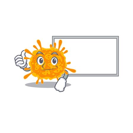 Humorous nobecovirus cartoon design Thumbs up bring a white board. Vector illustration