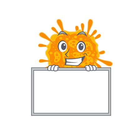 Smiling nobecovirus cartoon design style has a board. Vector illustration