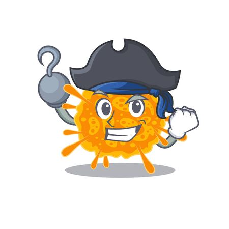 nobecovirus cartoon design style as a Pirate with hook hand and a hat. Vector illustration