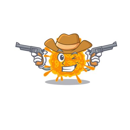 Cute handsome cowboy of nobecovirus cartoon character with guns. Vector illustration