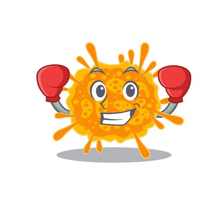 A sporty boxing athlete mascot design of nobecovirus with red boxing gloves. Vector illustration 向量圖像