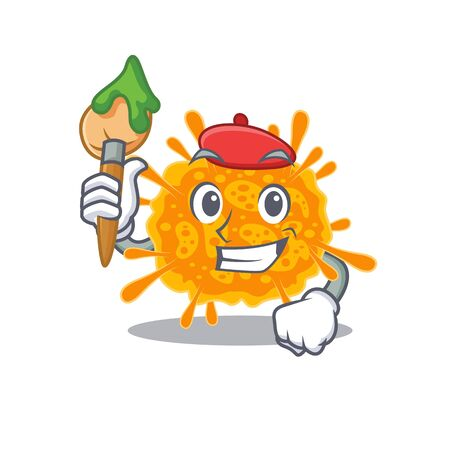 A creative nobecovirus artist mascot design style paint with a brush. Vector illustration 向量圖像
