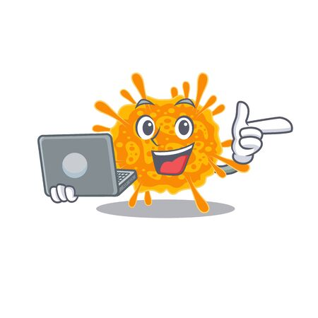 Cartoon character of nobecovirus clever student studying with a laptop. Vector illustration