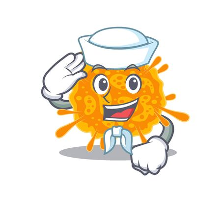 Sailor cartoon character of nobecovirus with white hat. Vector illustration 向量圖像