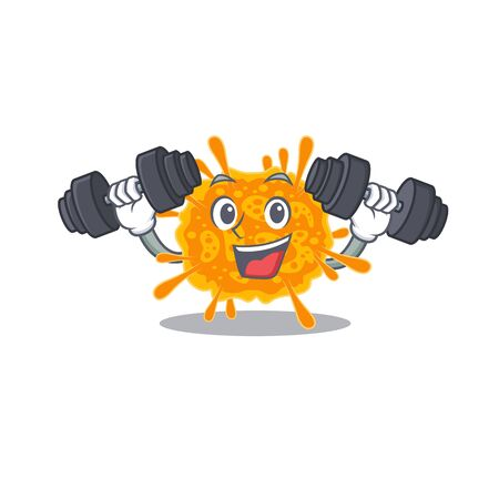 Mascot design of smiling Fitness exercise nobecovirus lift up barbells. Vector illustration