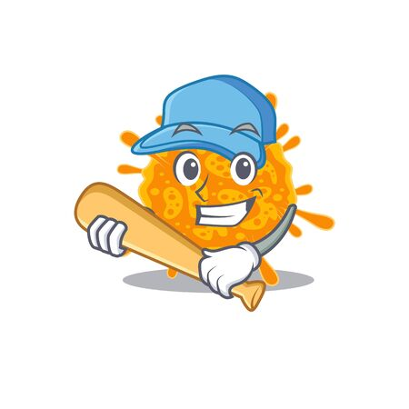 Picture of nobecovirus cartoon character playing baseball. Vector illustration 向量圖像