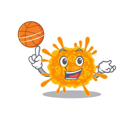 Gorgeous nobecovirus mascot design style with basketball. Vector illustration