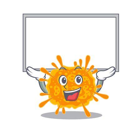 Mascot design of nobecovirus lift up a board. Vector illustration