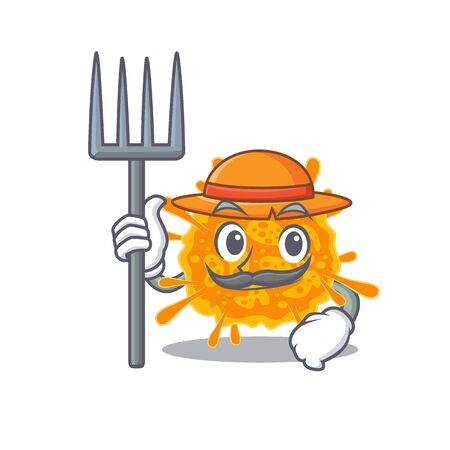 Cartoon character design of nobecovirus as a Farmer with hat and pitchfork. Vector illustration