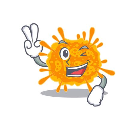 Happy nobecovirus cartoon design concept with two fingers. Vector illustration