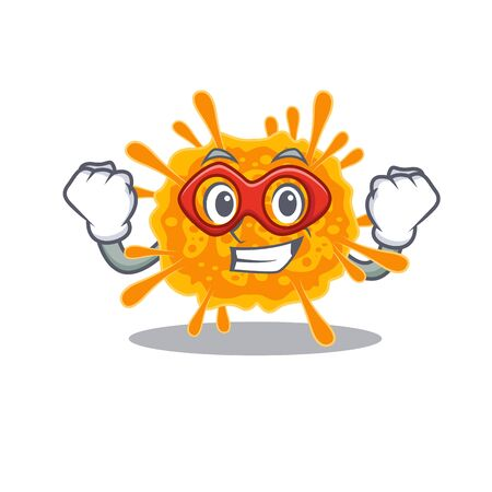 A cartoon character of nobecovirus performed as a Super hero. Vector illustration